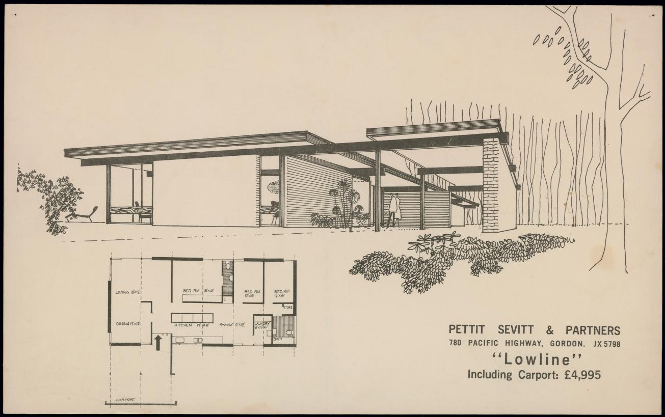 Brochure, 'Pettit Sevitt & Partners…Lowline', 1964. 2008/205/1, Design archive, Pettit & Sevitt project homes.  Copywork: Designer suburbs.