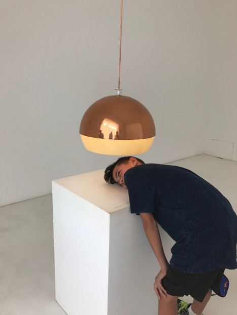 One of our favourites - the Austrian artist Erwin Wurm's very interactive exhibit. Also look at that 1960s light!