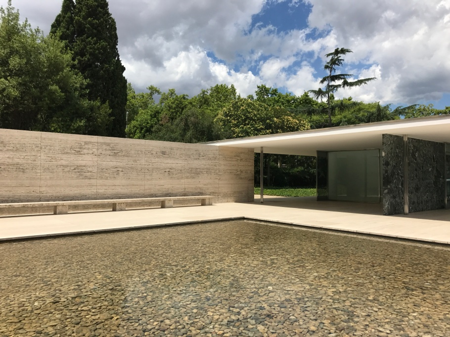 Barcelona Pavillion (technically the German Pavillion 1932) by Mies van der Rohe - strong, simple lines and joins