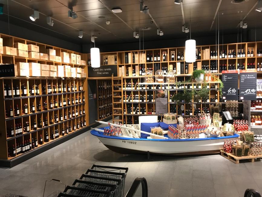 The classy lower ground floor of Globus department store, Geneva