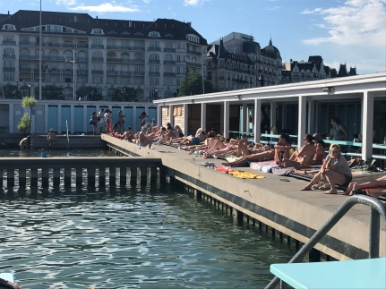 Bains des Pâquis, Geneva - terrific pavilions line an area of the lake where locals swim, relax and dine